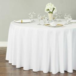 "1 to 50 PACK White 120"" inch ROUND Tablecloth Polyester 5' F"