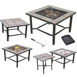 """Axxonn 5 in 1, 30"""" Square Tile Top Fire Pit, Grill, Cooler,"""