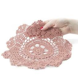 """10"""" Rose Pink Round Cotton Hand Crocheted Lace Doilies, Set"""