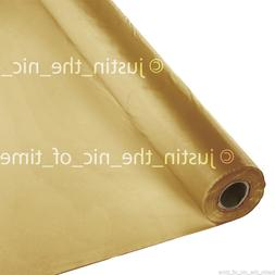 100ft GOLD Plastic Buffet Banquet Roll Party Table Cover Tab