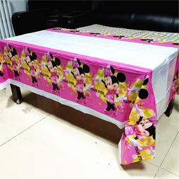 108*180cm Red Pink Minnie Mouse Tablecloth kids girls <font>