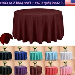 "VEEYOO 108"" Round Tablecloth Linen Table Cover for Buffet Pa"