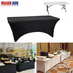 10X Stretch Fit Rectangle Table Cloth Cover 6 /8 FT Black Wr