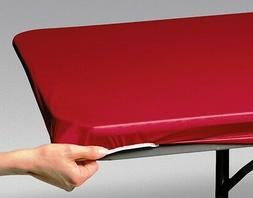 12 RED FAST COVER 8 FT.FITTED PLASTIC TABLECLOTHS TABLE COVE