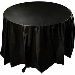 "12-Pack 84"" Black Disposable Plastic Round Tablecloth Table"