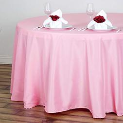 120 inch pink round polyester tablecloth table
