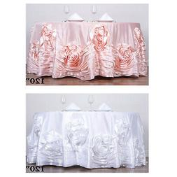 "120"" Large Rosette Round Tablecloth Lamour Satin Tablecover"