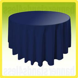 "120"" NAVY BLUE Round Table Cover Tablecloth Wedding Banquet"