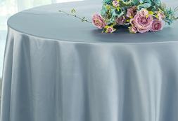 "Wedding Linens Inc. 120"" Satin Round Heavy Duty Tablecloths"