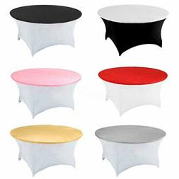 120cm Fitted Round Elastic Edge Table Cover Wedding Party Ba
