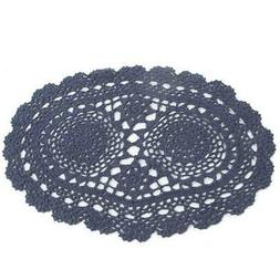 """15"""" Navy Blue Oval Cotton Hand Crocheted Lace Doilies, Set o"""