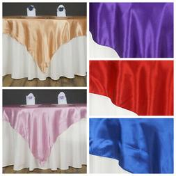 """15 Pack 60"""" Square SATIN Table Overlays Toppers Wedding Whol"""