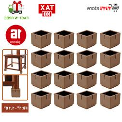 16 Brown Square Silicone Tips Leg Caps for Chair Table Cover