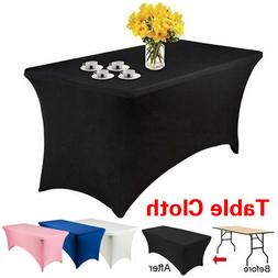1PC Elastic Table Cover Rectangular 4FT 6FT Stretch Tableclo