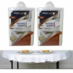 2 Crystal Clear Vinyl Tablecloth Protector Heavy Oval Plasti