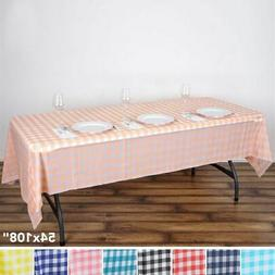 "2 pcs RECTANGLE 54x108"" Checkered Disposable Plastic TABLE C"