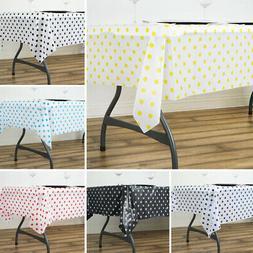 "2 pcs RECTANGLE 54x72"" Polka Dots Disposable Plastic TABLE C"