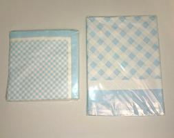 2 TABLE COVERS or 20 Napkins TEENY TINY Blue Stars GINGHAM P