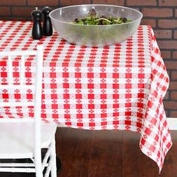 25 Yard Roll Red and White Gingham Checked Vinyl Table Cover