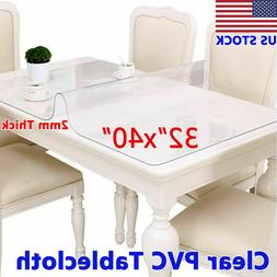 2mm Thick Waterproof Clear Plastic PVC Tablecloth Protector