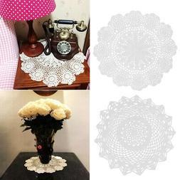 2pc Round Flower Table Mats Lace Doily Placemat Crochet Coas