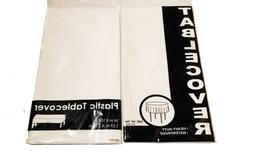 2PCS White Plastic Tablecloth Rectangle & Round Table Cover