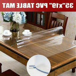 """35""""x19"""" Clear PVC Table Cover Table Mat Protector Non-Slip C"""