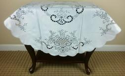 "36"" Round Polyester Fabric Embroidery Tablecloth Night Stand"