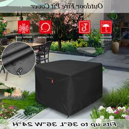 "36"" Square Fire Pit/Table Cover 210D Coating Patio Outdoor C"