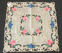 """36x36"""" Square Embroidered Tablecloth Polyester Embroidery Ta"""