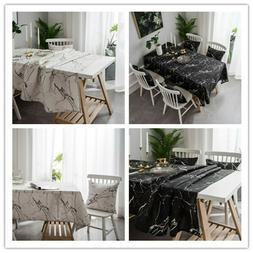 3D Marble Table Cover Cotton LinenTablecloth Handmade Dinner