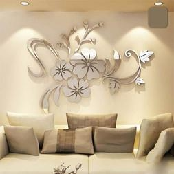 3D Mirror Flower Art Acrylic Mural Decal Removable Wall Stic