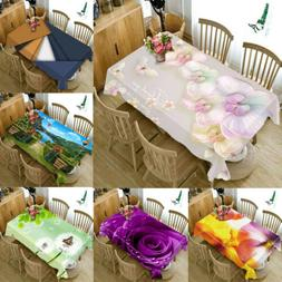 3D Natural Floral print Tablecloth Home Kitchen Dinner Decor