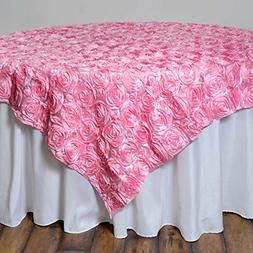 "Efavormart 3D Rosette Square Tablecloth Overlay 72""x72""-Pink"