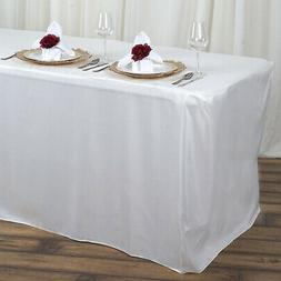 4 ft IVORY FITTED POLYESTER TABLE COVER Tablecloth for Weddi