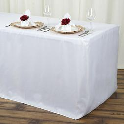 4 ft WHITE FITTED POLYESTER TABLE COVER Tablecloth for Weddi