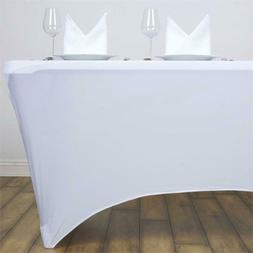 4' ft. White Spandex Fitted Stretch Tablecloth Table Cover W