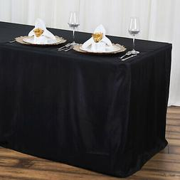 """4 ft x 24"""" BLACK FITTED POLYESTER TABLE COVER Tablecloth for"""