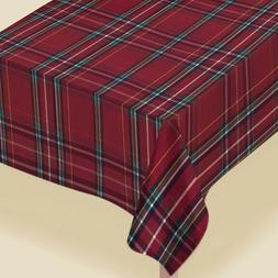 Amscan 4: Plaid Printed Fabric Table Covers 1.52m x 2.13m