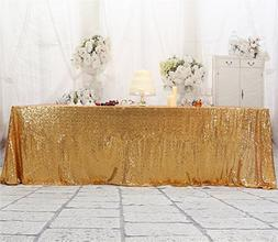 Eternal Beauty 48'' X 72'' Light Gold Sequin Tablecloth Wedd