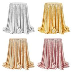 "48"" Round Sparkly Sequins Table Cloth Dinner Table Cover Bli"