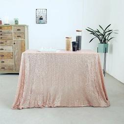 GFCC 48x72 inch Rose gold Sequin Tablecloth Sequin Table Cov