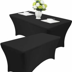 2pk Black Banquet Rectangle Table Covers 6ft Spandex Wedding