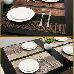 4PCS Bamboo PVC Placemats Tables Mats Dark Brown Kitchen Din
