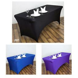 5 Ft Rectangular Spandex Table Cover For Wedding Party Banqu