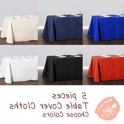 5 pc Rectangle Tablecloth Table Cover Party Wedding Linen Co