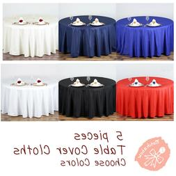 5 pc Round Tablecloth Table Cover Party Wedding Linen Colors
