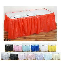 5 Pcs 14ft Plastic Table Skirt Disposable Table Cover Plain
