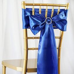 BalsaCircle 50 Royal Blue Satin Chair Sashes Bows Ties for W