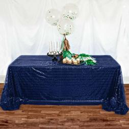 "50""x50"" Royal Blue Sequin Tablecloth Navy Blue Sequin Table"